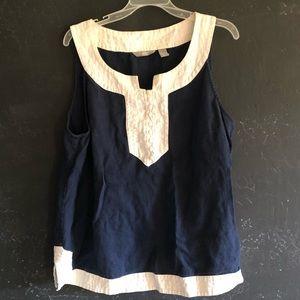 Liz Claiborne Linen Top XL